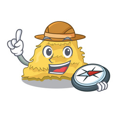 Explorer hay bale mascot cartoon vector