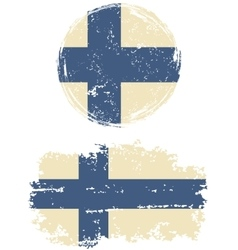 Finnish round and square grunge flags vector image