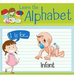 Flashcard letter I is for infant vector image