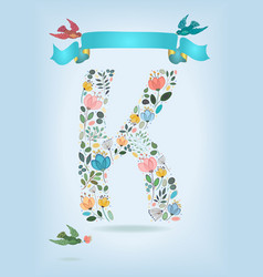 Floral letter k with blue ribbon and three doves vector