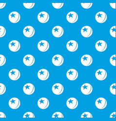 glossy star ball pattern seamless blue vector image
