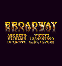 gold broadway font vector image