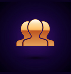 Gold users group icon isolated on dark blue vector