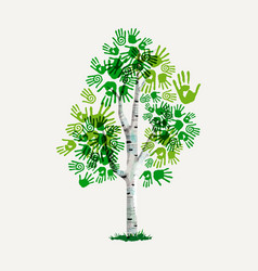Green hand print tree symbol for environment care vector