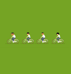 Group of asian business people riding bicycle vector