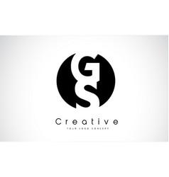 gs letter logo design inside a black circle vector image