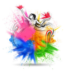 Happy holi background for color festival of india vector