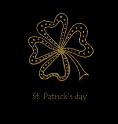 happy saint patrick s day gold shamrock clover vector image