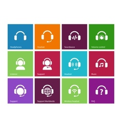 Headphones icons on color background vector image