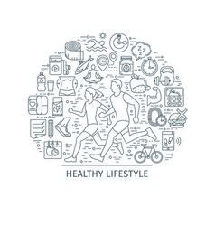 healthy lifestyle outline banner3 vector image