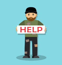 homeless man asks for help vector image