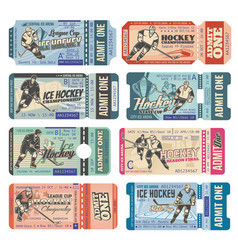 Ice hockey tickets sport game tournament cup vector