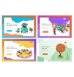isometric landing page templates for vector image