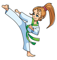 Karate kick girl vector