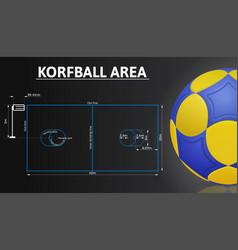 korfball court and korfball ball realistic details vector image