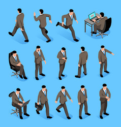 men poses isometric icons set vector image