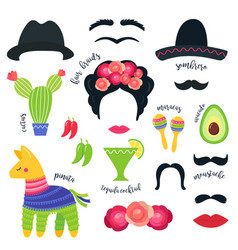 Mexican fiesta party symbols and photo booth props vector