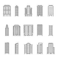 mono line of modern buildings vector image