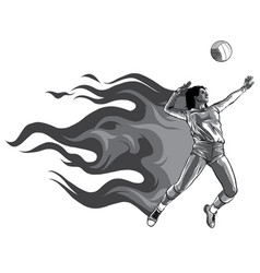 Monochromatic silhouette volleyball player with vector