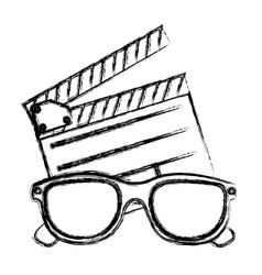 Monochrome sketch with clapperboard cinema and 3d vector