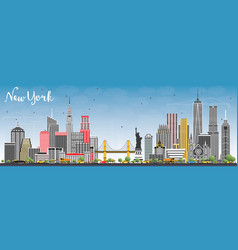 New york usa city skyline with gray skyscrapers vector