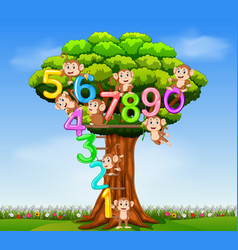 number 0 until 9 with the monkey on the tree vector image