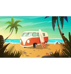 Old bus on the beach with surfboard vector