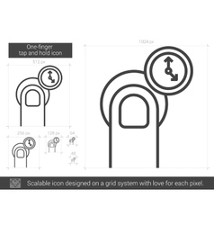 One-finger tap and hold line icon vector image