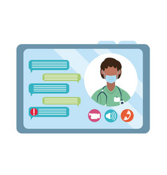 online doctor chatting video tablet computer vector image