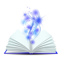 open book with magic light vector image