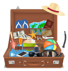 open suitcase bag with beach travel object vector image