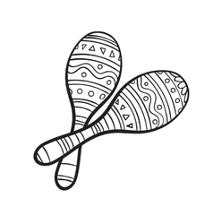 Pair of traditional Mexican brightly maracas or vector