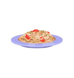 pasta with tomatoes italian cuisine vector image
