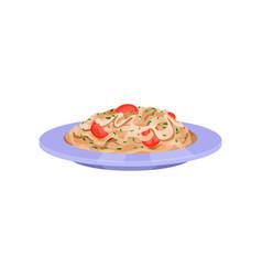 Pasta with tomatoes italian cuisine vector