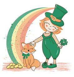 Patrick rainbow saint day cartoon vector