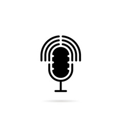 podcast black logo with speaker vector image