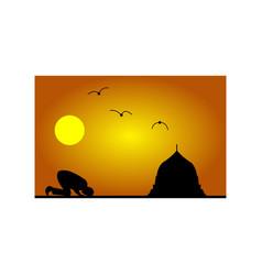 prayers ramadan silhouette vector image