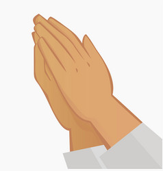 Praying hands on white background vector