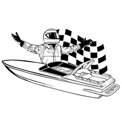 Racing boat top view applique with vector