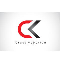 Red and black ck c k letter logo design creative vector