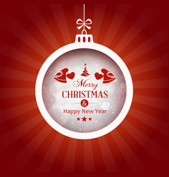 Red background with merry christmas typography vector