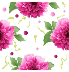 Red Dahlia flower seamless background vector