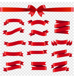 Red ribbon and bow transparent background vector