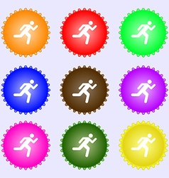 running man icon sign A set of nine different vector image
