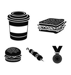 Sandwich coffee shish kebab burgerfast food vector