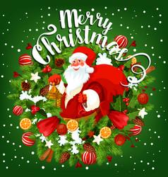 Santa with christmas gift greeting card design vector