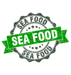Sea food stamp sign seal vector