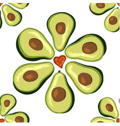 Seamless pattern is light love avocado vector