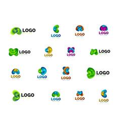 Set abstract round shape logo templates vector