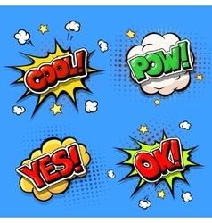 Set comic speech bubbles and dynamic explosion vector